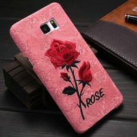 Manufacturer wholesale fashion style embroider Rose Pattern Cell Phone Case for samsung note 5, for galaxy note 5