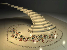 beautiful medallion decorative natural beige marble stair tread