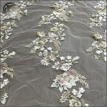 High quality latest design flat embroidered silk organza fabric