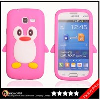 Keno Colorful Soft Gel Flexible TPU Silicone Skin Case Cover for Samsung Galaxy Trend Lite S7392 S7390 (Rose Penguin)