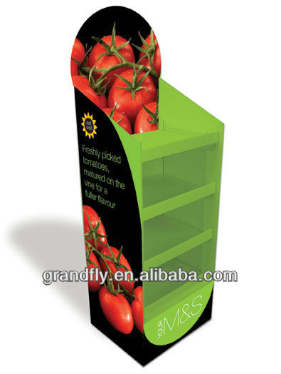 Four Tier Floor Display Fruit Vegetable Cardboard POS Display