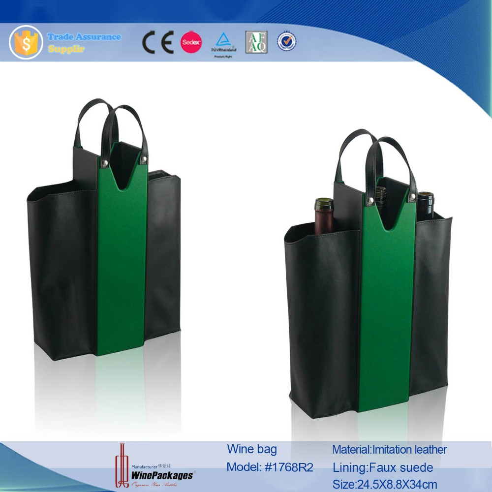 3 bottle wholesale cheap leather wine bag,new reusable wine tote carrier
