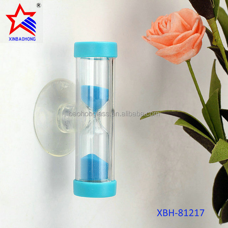 2017 New Product Colorful Kids Plastic Shower 4 Minutes Sand Timer Hourglass With Suction Cup