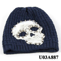 Fashion skull head hip hop winter knit hat