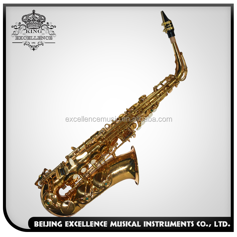 Alto Sax India with Gold lacquer Surface and Gold Plated Keys made in China