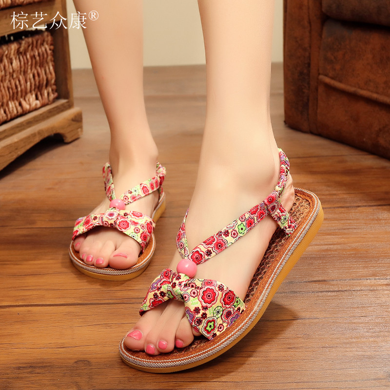 wholesale bead popular design slipper natural material eco-friendly <strong>sandals</strong>