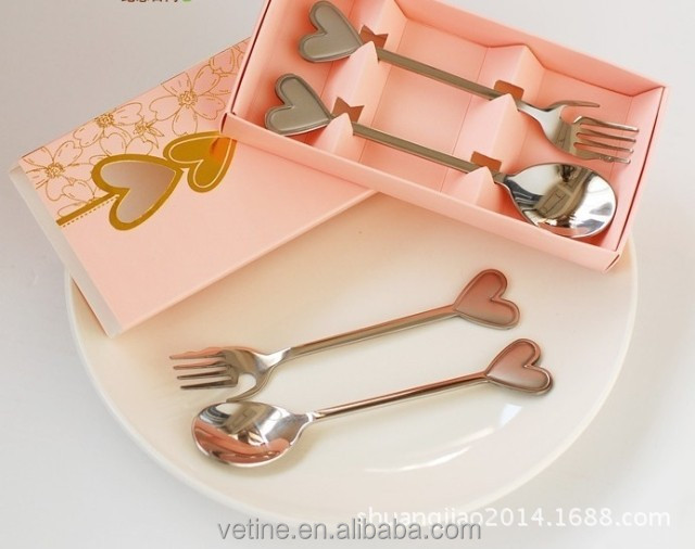 Loving Hearts Stainless Spoon and fork 2pcs Set for Wedding Favor Souvenirs festive supplies Decoration gifts