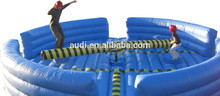 New blue color inflatable wipe out sport game, inflatable meltdown ride game for adults and children