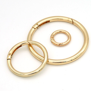 Custom high quality round shape spring snap hook adjustable metal o ring buckle for bags