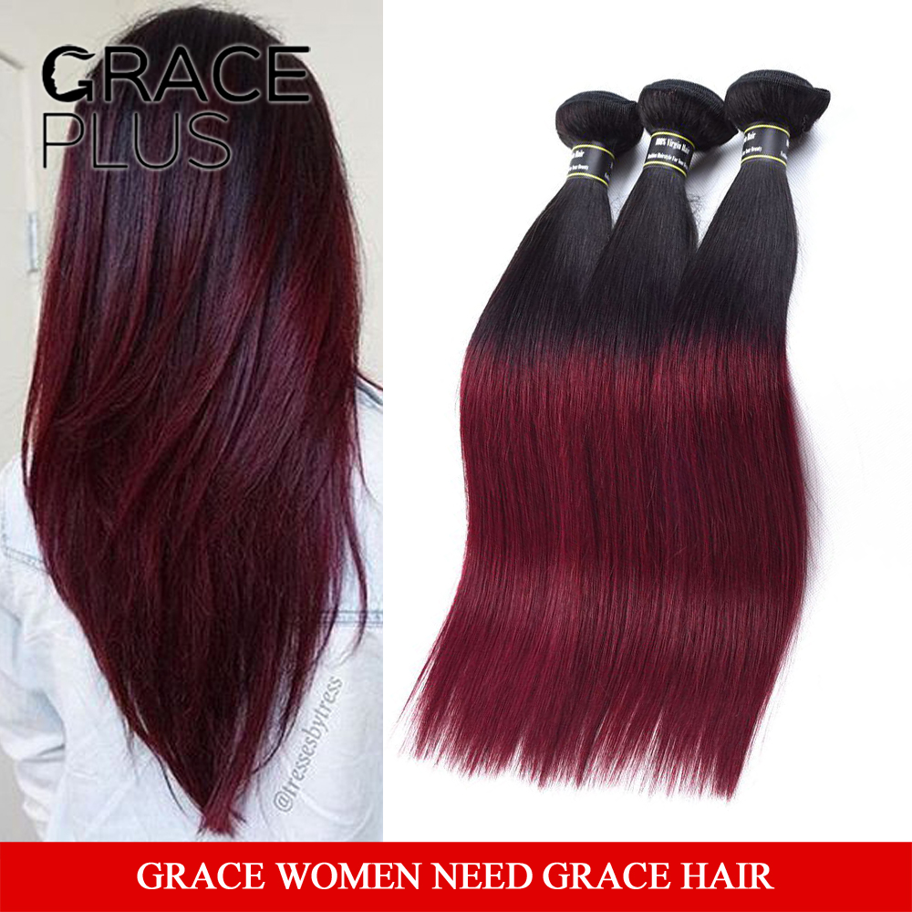 7A Ombre Brazilian Hair Straight red human hair weaving silky straight