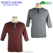 Men Fashion Henley T Shirt with Three Quarter Sleeves