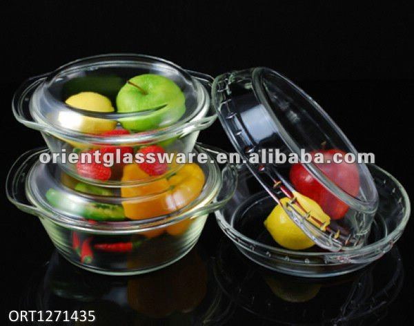 2L borosilicate glass soup bowl with lid