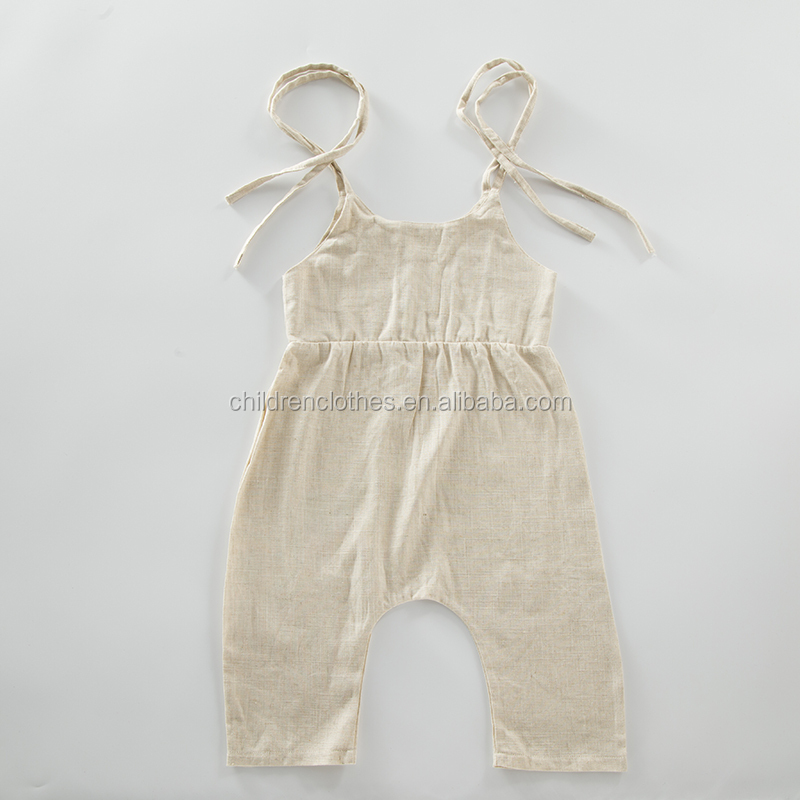 Rope Tie Shoulder Linen Romper For Baby Boy Baby Girl Bamboo Baby Clothes With Leggings