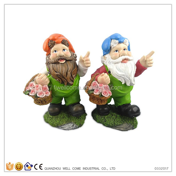 Carrying Basket Of Flowers Garden Gnomes Mini Cheap Wholesale