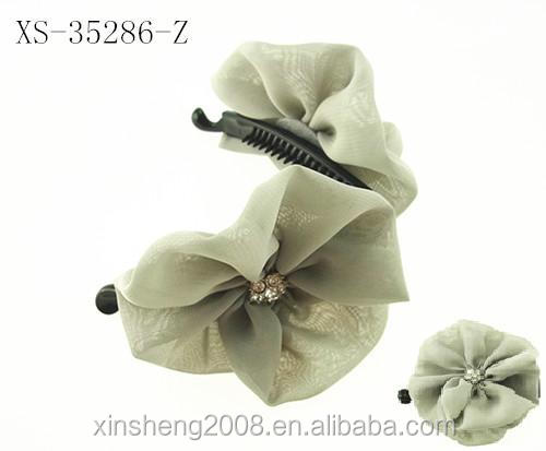 beautiful Banana clip with chiffon flower Chinese Manufacture