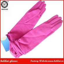 Ladies Cute Unlined Elbow Length Rouched Opera Wool Dress Gloves in Hot Pink