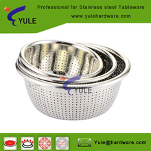 Wholesale Mirror finishing stainless steel Deep Colander for fruit and vegetable