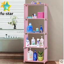 PNNew Portable Pink 4 Tiers Iron Shelf Sundries BookShelf Multi-function Cabinet Book Shelf