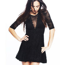 Womens ladies black mesh net dress