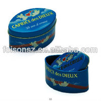 hot sale personalized high-end oval shape caviar metal tin box