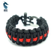 cheap firesteel style christmas paracord survival bracelet with black and red