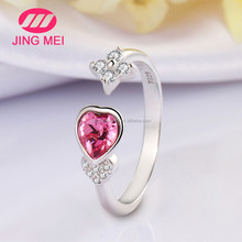 2016 New Arrival 925 sterling silver women jewelry Red Heart crystal engagement ring