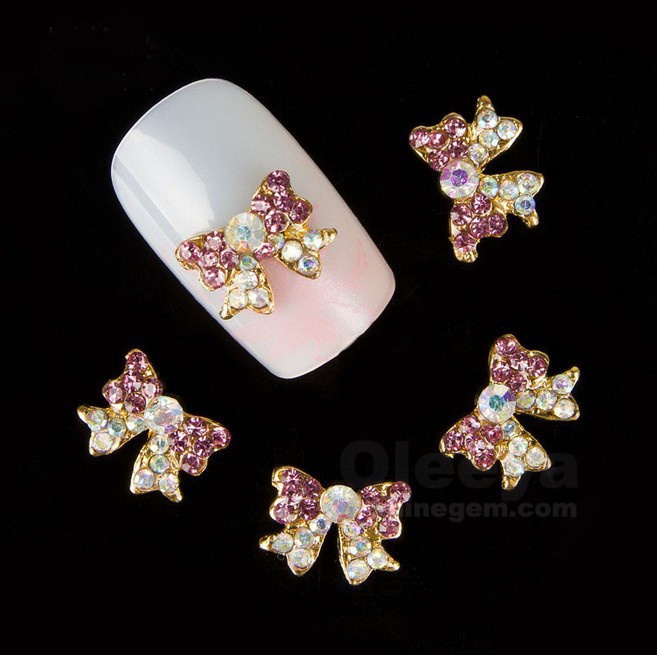 8mm*9mm Bow Crystal Rhinestones rose color 3D Nail Art Tools Stones For Nails Alloy Decoration