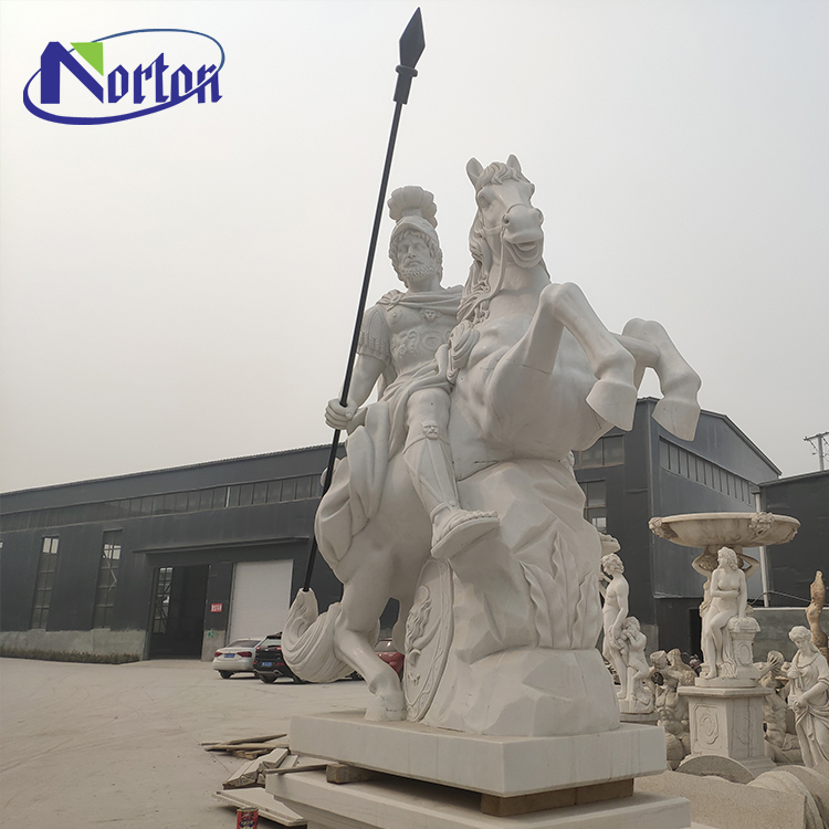Factory direct hand carved white marble stone Roman warrior riding hand holding weapon statue sculpture