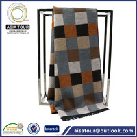 Alibaba supplier Unisex Winter Scarf Patchwork Checked Wool Thick Cashmere Scarf /Shawl Black Fringe Stole
