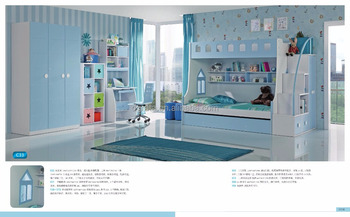 2016 Blue wooden bunk bed set is used EI high glossy painting MDF to be finished