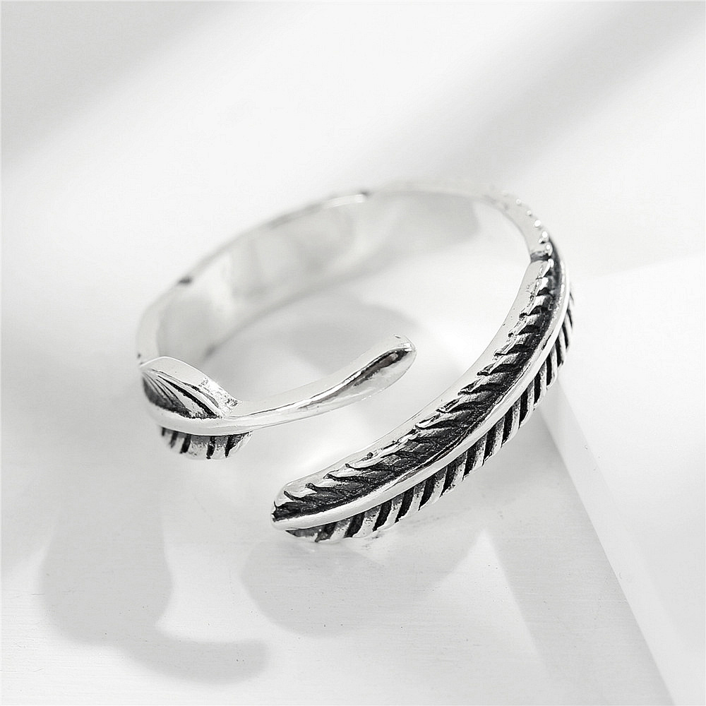 MYLOVE FREE SHIPPING size adjustable thai silver feather 925 sterling silver ring jewelry manufacturer