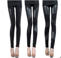 S M L XL 2XL 3 Patterns Zanzea 2015 New Slim Fit Women Splicing Sexy Stretch Stripe Cotton Faux Leather Legging Pants