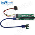 60cm USB 3.0 cable PCI-E 1x to 16x USB Riser Card with molex power for bitcoin