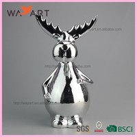 Unique Silver Plating Reindeer Ceramic Christmas Decoration Supplies