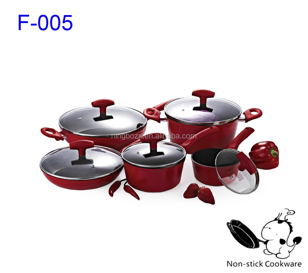 Teflon coating 10 pcs royalty line fry pan nonstick german cookware set with induction base