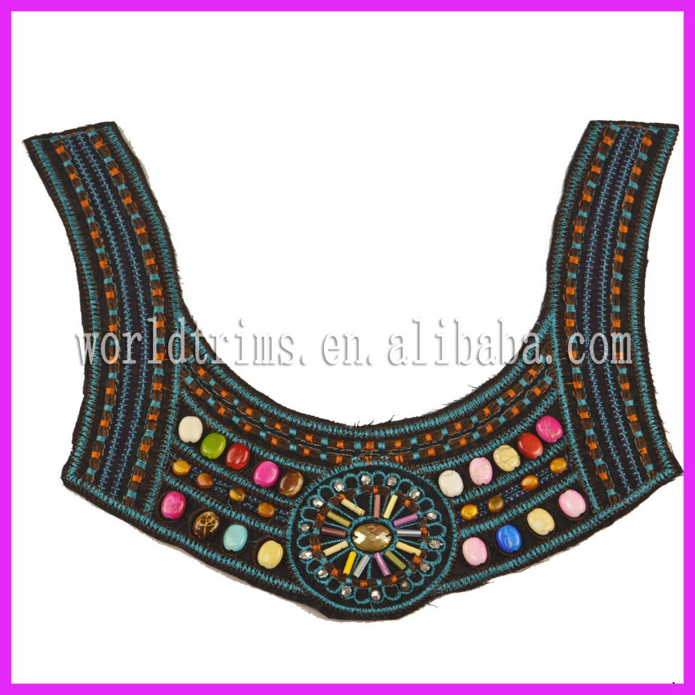 Wholesale blouse back embroidered neck patch design with