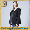 Unique woman jacket with fur,100% cotton black fishtail parka quilted jackets