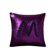 Hot selling amazing Two Tone Color Changing throw Pillow mermaid Sequin Fabric popular reversible sequin cushion cover
