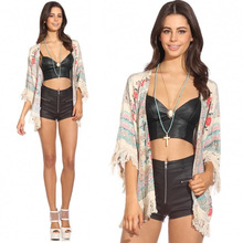 New Retro Women Boho Kimono Floral Print Fringe Open Front Loose Shawl Cardigan Blouse