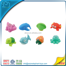 Lovely mixed animals colorful soft rubber float squeeze sound bathing toy for baby