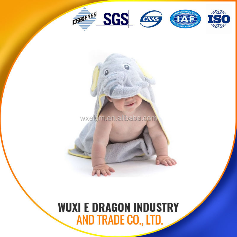 80% polyester and 20% polyamide elephant baby hooded towel