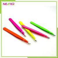 Colorful Stainless Steel Precision Slant Tip Eyebrow Tweezers for Hair Removal