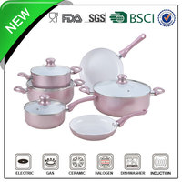 10pcs aluminum ceramic coating flower cookware set