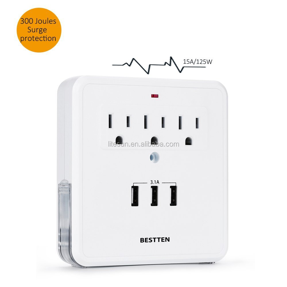 LITESUN LA-5SB-D ETL CETL 3 outlets Surge protected Adapter with 2 USB charging ports Current Tap and power light