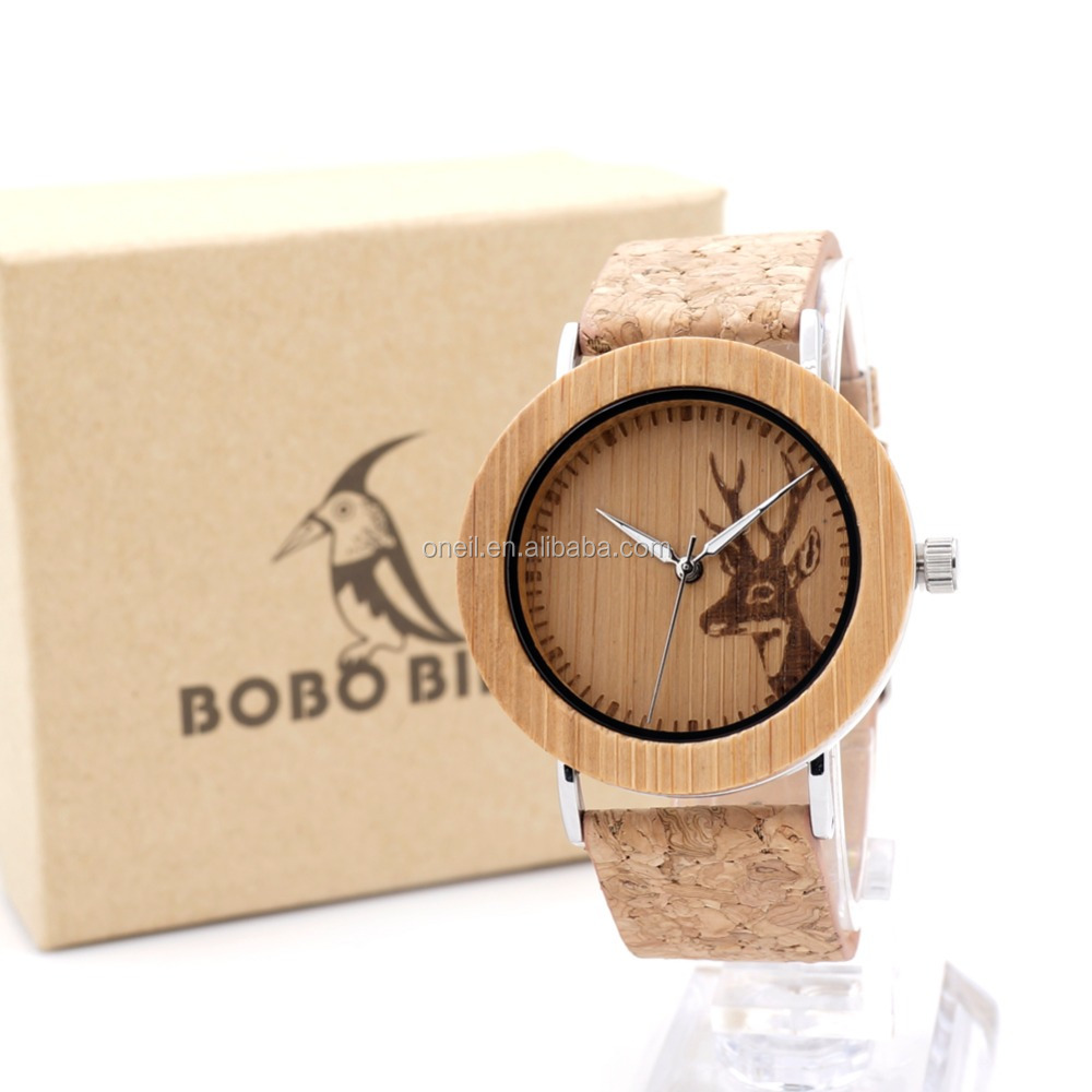 Bobo bird wooden watches bamboo wood black soft leather strap unisex