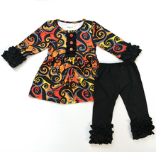 Hot sale kids Long Sleeve Boutique outfits wholesale remake Halloween children's boutique clothing sets