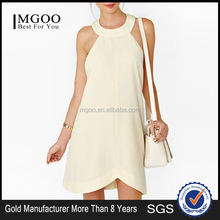 MGOO Wholesale Online OEM Fashionable Women Normal Champagne Sleeveless Halter Backless Party Dress 8082