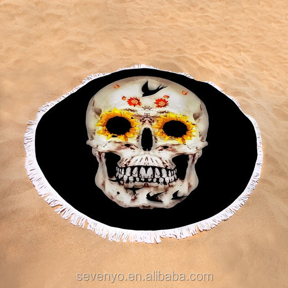 Sugar Skull Design Round Beach Towel with Tassels BT-413 China Supplier