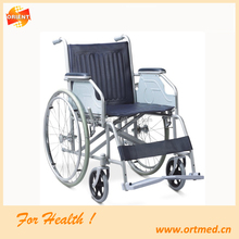 Plastic seat steel frame commode wheelchair for elderly