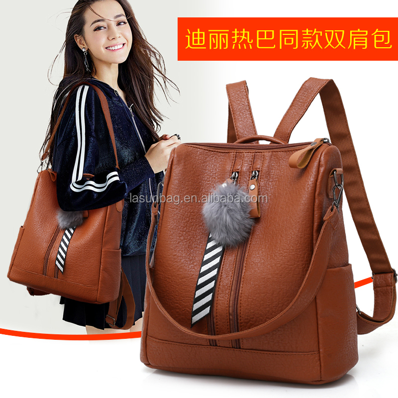 Plush Ball Double Zipper Women <strong>Bags</strong> Three Use Way Shoulder Backpacks